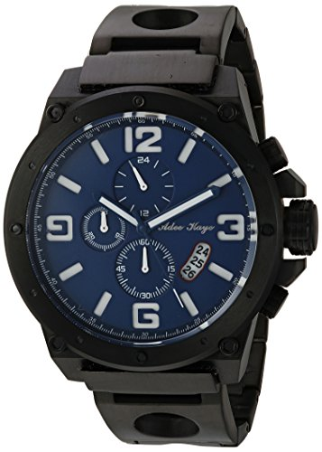 Adee Kaye Men's Quartz Stainless Steel Dress Watch, Color Black (Model: AK8896MB-MIPB/BU)