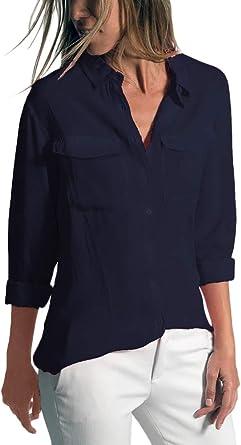 ORANDESIGNE Camisas Mujer Casual Elegante Manga Larga Cuello en V Low Cut Botones Camisetas Sólido Sexy Tops Oficina Tallas Grandes Shirt: Amazon.es: Ropa y accesorios