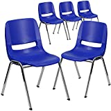 Flash Furniture 5 Pk. HERCULES Series 880 lb. Capacity Navy Ergonomic Shell Stack Chair with Chrome Frame and 18'' Seat Height