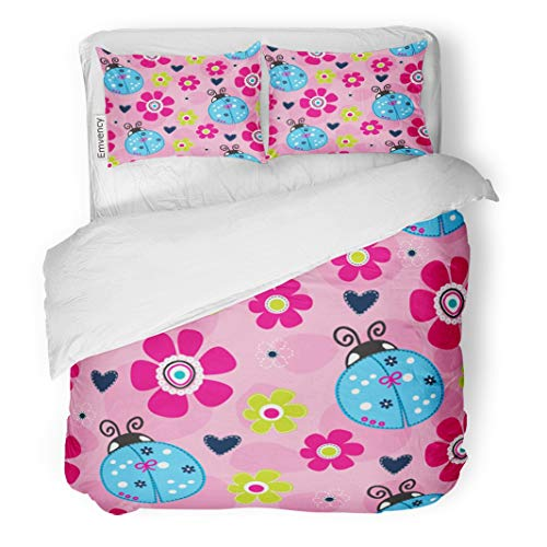 Emvency Decor Duvet Cover Set Twin Size Pink Girlie with Ladybug Adorable Animal Beautiful Beauty Birthday Cartoon 3 Piece Brushed Microfiber Fabric Print Bedding Set Cover