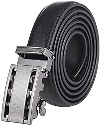 Marino Boy's Genuine Leather Belt, Ratchet Dress Belt with Automatic Buckle - 5-16