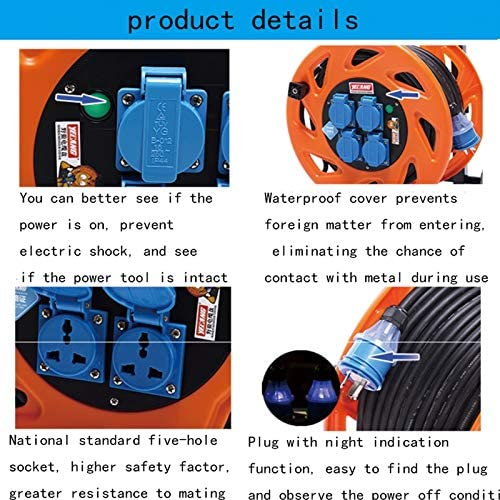 LIFEIYAN Retractable Extension Cord Reel Four Socket Medium Cassette Cable Reel Extension Lead With Winding Handle Thermal Cut Out And Power Switch 100 200 Metres High Visibility Cable extension