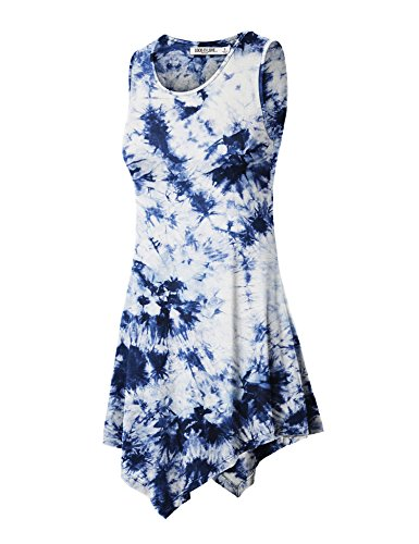 (WT1065 Womens Sleeveless Tie-Dye Tunic Tank Top XL WHITE_NAVY)