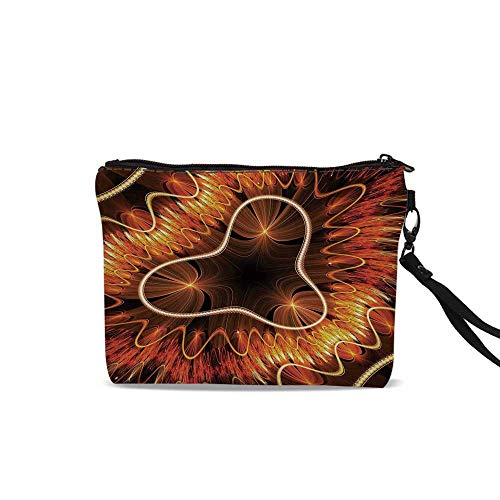 (Fractal Cosmetic Bag Storage Bag,Abstract Electromagnetic Waves Textured Dynamic Effects Artful Graphic Image For Women Girl,9