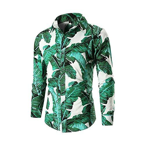 Men's Button Down Shirts Long Sleeve Slim Fit Cotton Floral Print Casual Shirt (Leaf, M) - Paisley L/s Shirt