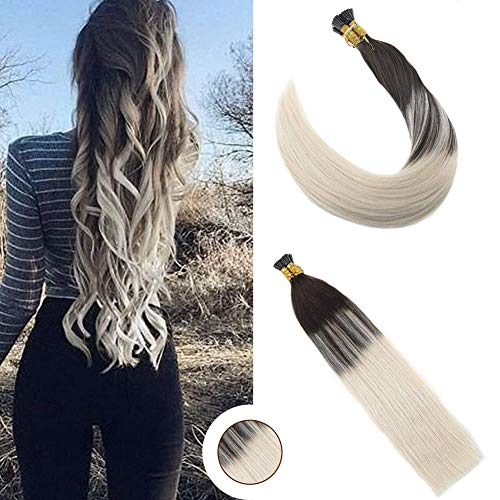Ugeat 16Inch Pre Bonded I-Tip Stick Fusion Hair Extensions Balayage Ombre #2 Darkest Brown To Platinum Blonde Hair Extensions Remy Keratin Tipped Human Hair Extensions 50Stands 0.8g/s