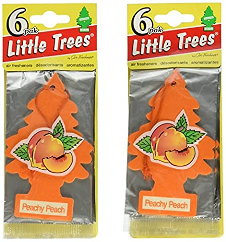 Little Trees Cardboard Hanging Car, Home & Office Air Freshener, Peachy Peach (Pack of 12) - Little Trees Car