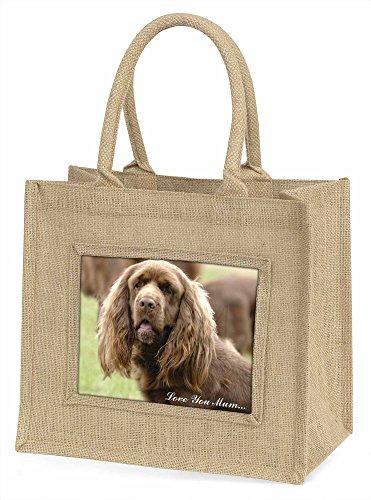 Advanta Sussex Spaniel Hund, Love You Mum Große Einkaufstasche Weihnachten Geschenk Idee, Jute, beige/natur, 42x 34,5x 2cm