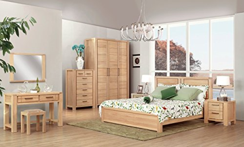 1.8M Solid Wood Bed Wooden Platform Bed Frame and Headboard,Elm,Modern Style,Natural color