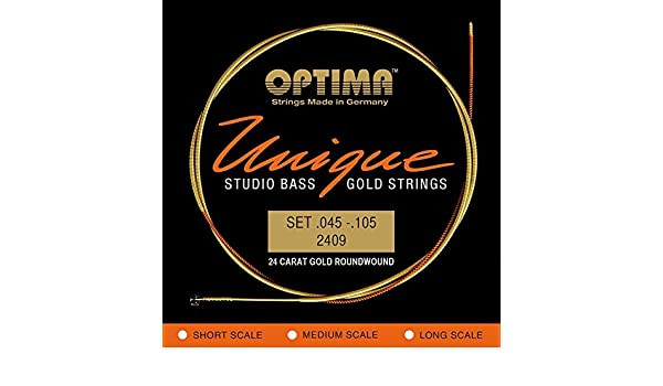 .105 Optima 24 K Gold Plated Unique Series Studio Bass Strings .045