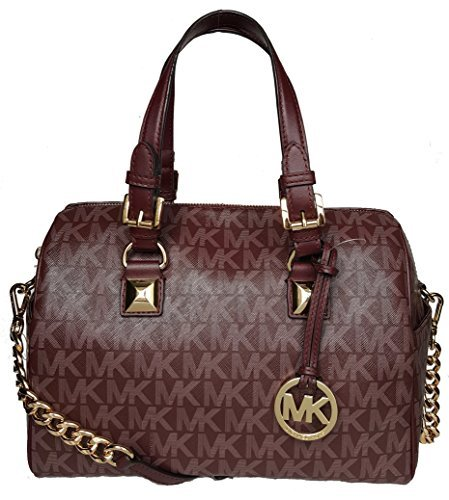 (Michael Kors MK Grayson Merlot medium barrel shoulder satchel handbag bag crossbody)