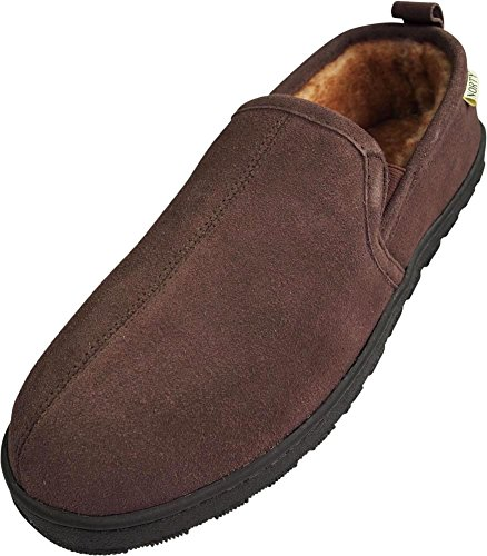 NORTY - Mens Suede Leather Twin Gore Slipper, Chocolate 39865-12D(M) US (Gore Leather Side)