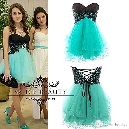 ef2ad6300 1 Pieza de fotografías reales de 8º grado cortos baratos vestidos  Homecoming Prom con apliques negros
