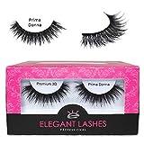 Elegant Lashes ''Prima Donna'' Premium 3D Lashes (Pro Dozen Pack - 12 Pairs) | Thick Black Double-Layer Multi-Dimensional Cruelty-Free False Eyelashes