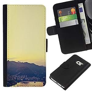 All Phone Most Case / Oferta Especial Cáscara Funda de cuero Monedero Cubierta de proteccion Caso / Wallet Case for Samsung Galaxy S6 EDGE // City View Sea Harbor Sunset