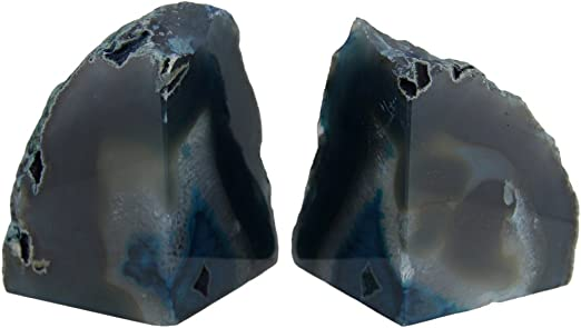 Brazil Natural White Black Large Polished Cut Base AGATE Geode BOOKEND Pair
