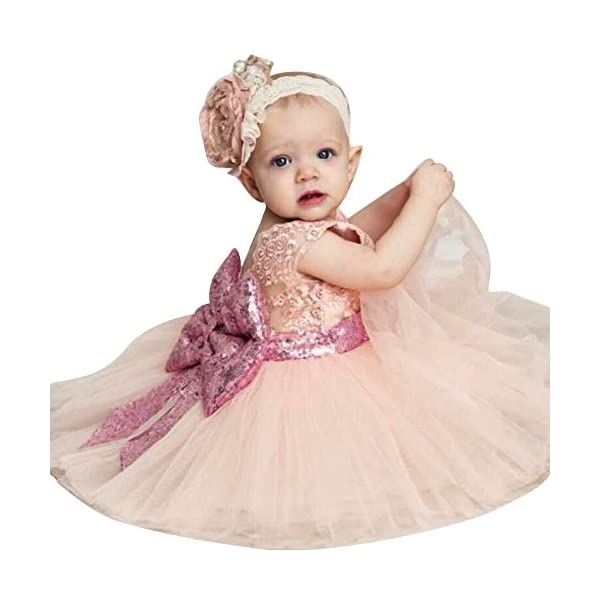 Inlefen Flower Girls Dress Wedding Party Compleanno Paillettes Bowknot Floral Sleeveless Princess Formal Dress per Baby… 4