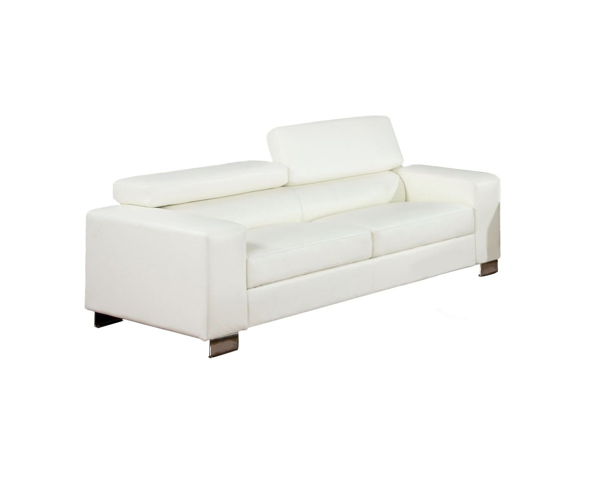Furniture of America Bloomsbury Bonded Leather Match Sofa, White