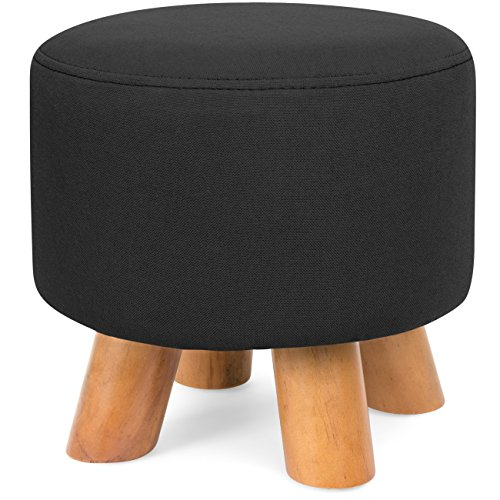 Best Choice Products Upholstered Padded Lightweight Pouf Ottoman Footrest Stool w/Removable Linen Cover, Non-Skid Wooden Legs, 440lbs Weight Capacity - ()