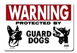 Lynch Signs 14 in. x 10 in. Sign Red and Black on White Plastic Warning Protected by Guard Dogs