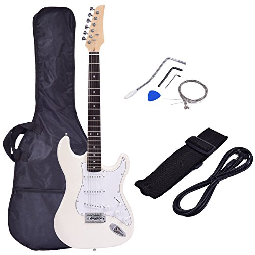 Costzon 39' Electric Guitar, Full Size Guitar with Case and Accessories Pack for Beginner Starter (White)