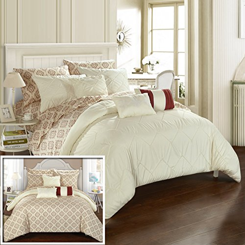 - Chic Home 10 Piece Maddie Rope Like Pinch Pleated Reversible Oversized and Overfilled Queen Bed in a Bag Comforter Beige with Sheet Set