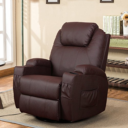 Esright Massage Recliner Chair Heated PU Leather Ergonomic Lounge 360 Degree Swivel (Brown)