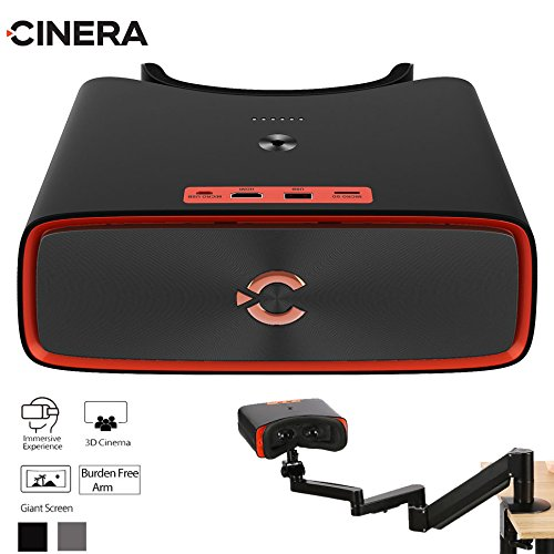 CINERA Dual 2.5K (5K Equivalent) HD Giant Screen 3D Blu-Ray Player Supported 1440P Input Virtual Reality Home Cinema Travel 3D Theater VR Glasses Movie Headset (Jet ()