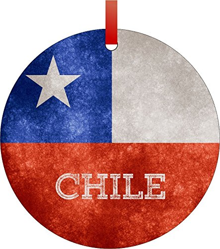 Chile Grunge Flag-Double-Sided Round Shaped Flat Aluminum Christmas Holiday Hanging Tree Ornament with a Red Satin Ribbon. Made in the USA!