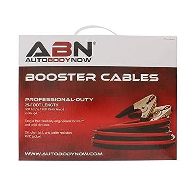ABN Jumper Cables, 25ft Long, 2-Gauge, 600 AMP – Commercial Automotive Vehicle Booster Cables – Motorcycle Car ATV: Automotive