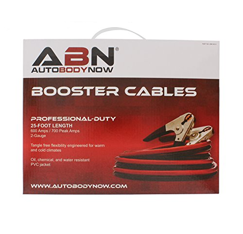 ABN Jumper Cables, 25ft Long, 2-Gauge, 600 AMP - Commercial Automotive Vehicle Booster Cables - Motorcycle Car ATV