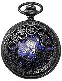 AMPM24 Mechanical Pocket Watch Skeleton Black Alloy Case WPK219
