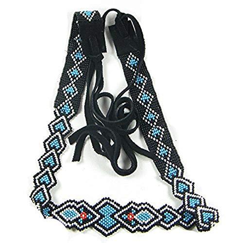 (La Vivia Handmade Turquoise Black Seed Beads Beaded Belt,Hatband Leather H-15-SB-7)