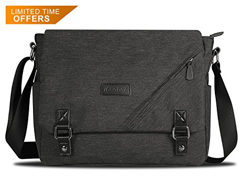 ibagbar Water Resistant Messenger Bag Satchel Shoulder Crossbody Sling Working Bag Bookbag Briefcase Fits 14 Inch Laptop for Men and (Side Zip Satchel)