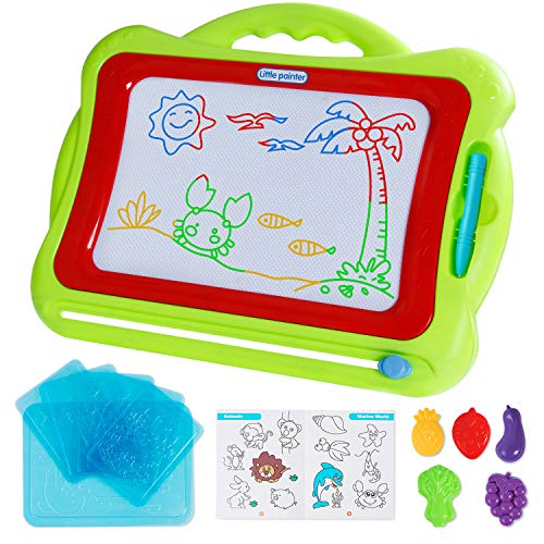 ANTAPRCIS Magnetic Board with Stamps Sketch Boards and Album for Kids - 42×33.5cm Erasable Colorful Scribble Board, Toddlers Magna Doodles Etch Sketch Writing Pad Learning Toys (Green)