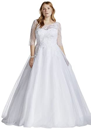7d109bcdf12 Tulle Plus Size Wedding Dress with Illusion Bodice Style 9WG3742 at Amazon  Women s Clothing store