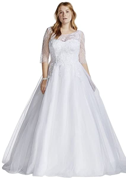 Tulle Plus Size Wedding Dress with Illusion Bodice Style ...