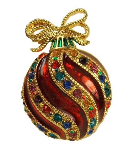 Christmas Holiday Pin (Bejeweled Christmas Holiday Fancy Ornament Pin Brooch BC1240)