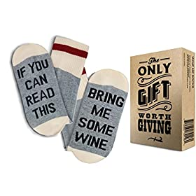 "WINE SOCKS + GIFT BOX -""If you can read this bring me some Wine"" Best Christmas Gifts for Women and Stocking Stuffers: Excellent gifts for women under 10 dollars"