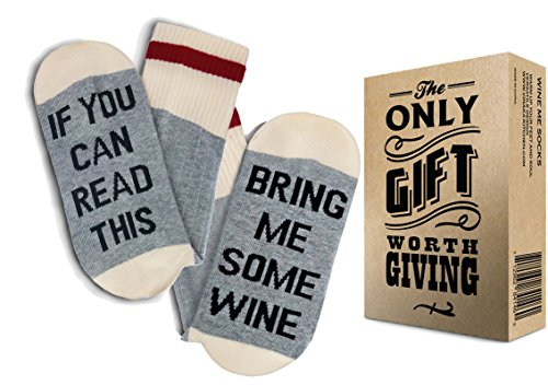 TheOnly Wine Gift Wine Socks - and Gift Box If you can read this bring me some wine Perfect Christmas Gift for Wine Lovers, Birthdays, White Elephant, Mother Gift, Wife or Best Friend Wine Socks