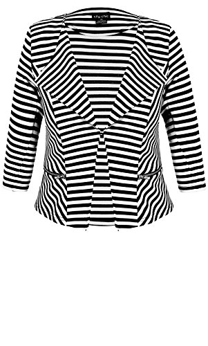Designer Plus Size JKT BLAZER STRIPE ZI - Black - 24 / XXL | City Chic