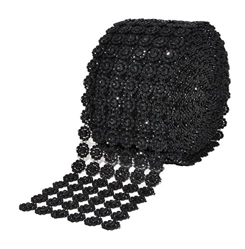 Black Belt Birthday Centerpiece - Mandala Crafts Bling Sparkling Acrylic Diamond Rhinestone Crystal Mesh Wrap Ribbon Roll for Cake Vase Centerpiece Party Wedding Decoration (Flower Pattern 4 Inches 10 Yards, Black)