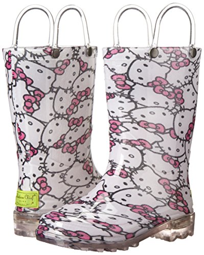 Western Chief Girls' Hello Kitty Waterproof Character Rain Boots with Easy on Handles, Light-up Hello Kitty, 12 M US Little Kid by Western Chief (Image #6)