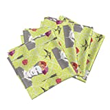 Large Scale Repeat Frida Chartreuse Mexican Linen Cotton Dinner Napkins Frida 6 by Nouveau Bohemian Set of 4 Dinner Napkins