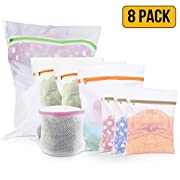 Mesh Laundry Bags – Pack of 8 (1 Large + 3 Medium + 3 Small + 1 for Delicates Bras, Lingerie) – Best Zipper Wash bag for Baby Clothes, Socks, Travel, Blouse, Hosiery, Stocking, Washing Machine