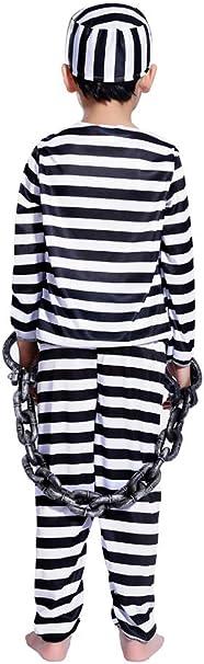 Enfants Noir Blanc Prisonnier Costume Robe Fantaisie Halloween Prisonnier Costume 140C