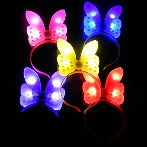 12 PC Light Up LED Mouse Ears and Polka Dot Bows Headbands - Various Styles by Mammoth Sales (Bow w/ Bunny Ears) (Minnie Mouse Led Costume)
