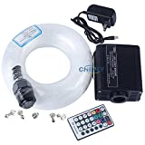 CHINLY 16W RGBW Remote LED fiber optic star ceiling kit light fiber optic lamp, mixed 335 strands 13.1ft/4m , 0.75mm+1.0mm+1.5mm + crystal