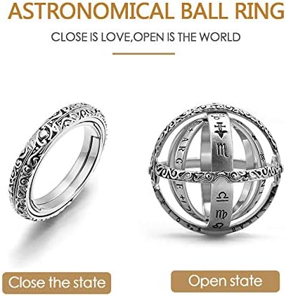 Cadeaux damant Romantique pour lanneau damant Romantique astronomique exquise d/éformable sculpt/ée /à la Main d/éformable /à la Main PeiQila Bague Globe sph/érique astronomique