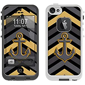 Skin Decal for LifeProof iPhone 5 Case - Chevron Black Grey and Gold Pattern Design